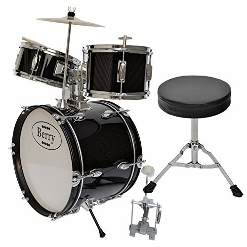 Berry Toys Complete Kids Large Drum Set with Cymbal, Stool and Sticks, Black