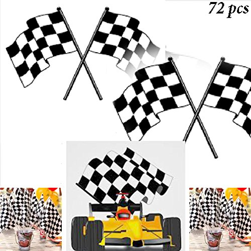 Adorox 72Pcs Checkered Mini Race Flags Nascar Theme Party Favor Decoration (Black/White (72 Flags))