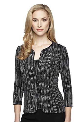 Alex Evenings Women's Printed 3/4 Sleeve Twinset M Black White by Alex Evenings