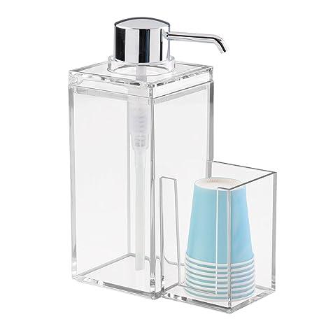 InterDesign Luci dispensador enjuague bucal  con soporte para vasos de plástico   Accesorio con capacidad
