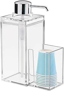 InterDesign Luci dispensador enjuague bucal  con soporte para vasos de plástico   Accesorio con capacidad hasta 1005 ml  Plástico cromado: Amazon.es: Hogar