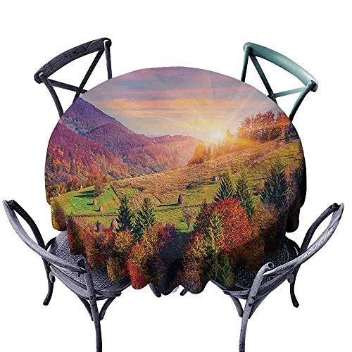VIVIDX Washable Round Tablecloth,Nature,Pastoral Autumn Morning in Mountain Village Fall Tree Surreal Rural Print,for Events Party Restaurant Dining Table Cover,60 INCH,Red Purple -