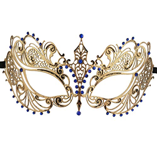Xvevina Women Masks Masquerade Ball Halloween Party Vintage Metal Mask Blue Rhinestone Princess -