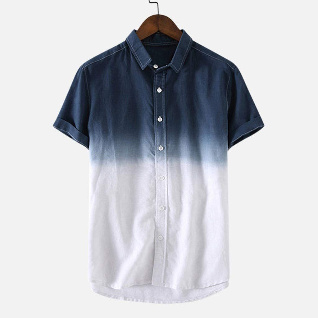 Mens Beach Blouse Short Sleeve Shirts Summer Button-Down Blouse Tops Gradient Color Casual T Shirts 3XL Tees Tops