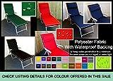 Zippy Waterproof Garden Furniture Sunbed Lounger Cushion - Dark Green + Beige piping - FREE HEADREST