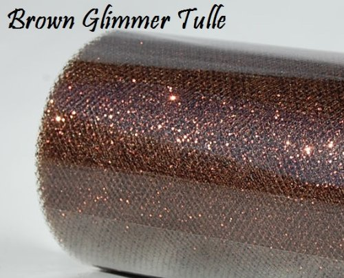 Wedding GLITTER Tulle Roll 6in x 30ft BROWN Sparkling Tulle (10 yards) by Maple Creek Company   B008LFTE6W