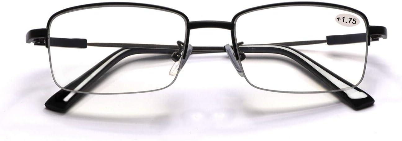 Progressive Multifocal Computer Reading Glasses Blue Light Blocking Titanium Alloy Spring Hinge Readers Eyeglasses Anti Glare Eye Strain Light Weight for Men and Women (1.75)