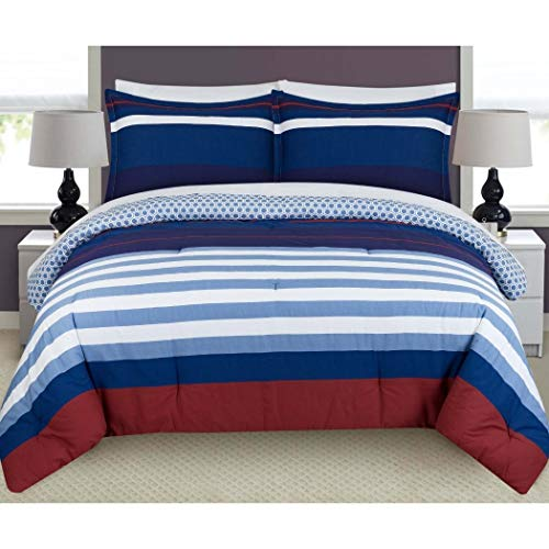 3 Piece Blue Red White Nautical Bold Stripes Pattern Plush Comforter King Set, Elegance Classic Rugby Stripe-Inspired Design, Geometric Print Reversible Bedding, Casual Coastal Style, Polyester Cotton ()