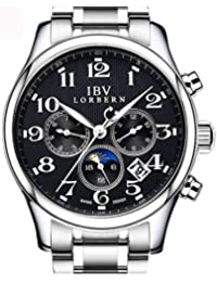 Mens Swiss Technology Automatic Watches with Sapphire Mirror Moon Phase Calendar and 24 Hours Black