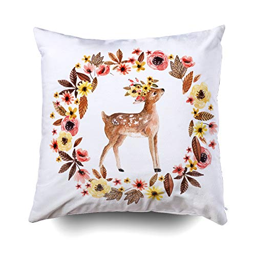 GROOTEY Decorative Cotton Square Pillow Case Covers with Zippered Closing for Home Sofa Decor Size 16X16Inch Costom Pillowcse Throw Cover Cushion Watercolor Deer Fawn Among Flowers Isolated on White
