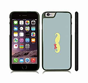 iStar Cases? iPhone 6 Case with Yellow Mustache with Pink Bow, on Blue Pattern Background , Snap-on Cover, Hard Carrying Case (Black)