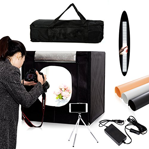 Professional 24''x24''x24'' Photo Lighting Studio Shooting Tents Box Kit for Photography Black by Konseen