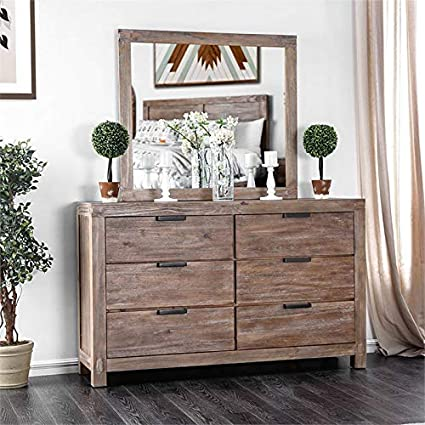 Amazon com: Furniture of America Russ 6 Drawer Dresser with Mirror