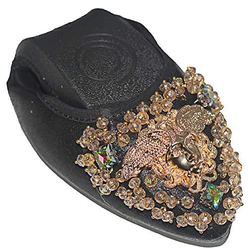 Otamise Women's Wedding Flats Rhinestone Slip On Foldable Ballet Shoes 9