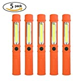 TOMOL LED COB Pen Light Super Bright LED Torch 200lm Car Emergency Light Worklight with Magnet and Belt Clip 5 Pack