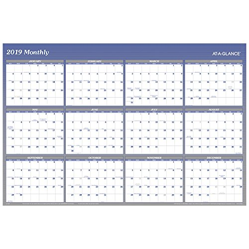 """at-A-Glance A1152-18 Yearly Wall Planner, January 2019 - December 2019, 48"""" x 32"""", Vertical, Horizontal, Erasable, Reversible, Blue (A1152) -  ACCO Brands, A1152-19"""