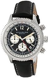 Stuhrling Original Men's 669.01 Monaco Quartz Chronograph Date Black Dial Leather Watch