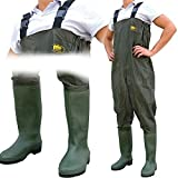 Lineaeffe All Weather Double PVC Waterproof Carp Coarse Fishing Chest Waders / Wellies in Sizes 7 8 9 10 11 & 12 (UK Size 10 - EU Size 44)
