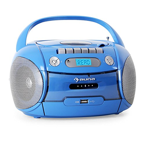 Auna Boomboy mobiler MP3-CD-Player Kassettenplayer Stereolautsprecher Ghettoblaster (USB-Slot, UKW-Radio, Netz- und Batterie-Betrieb) blau