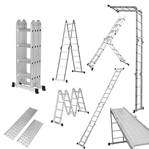 Luisladders 15.5FT Multi-Purpose Aluminium Extendable Ladder Holds up to 330lbs Includes 2 Iron Plates EN 131 Standard GS Certified GLT36M