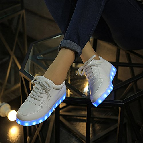 Topteck Up Sneakers Shoes USB Men White Charging Flashing LED Light White Women rqYUwr