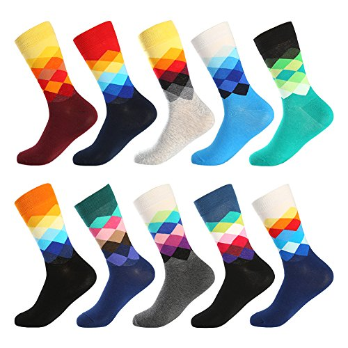 Bonangel Men's Fun Dress Socks - 10 Pairs Colorful Funny Novelty Crazy Crew Socks Packs with Cute Argyle Pattern (10 Pairs-Mix - Men Socks Diamond
