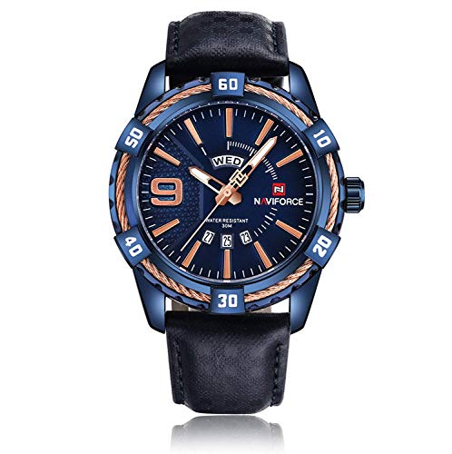 Fashion Watches Men Sport Japanese Quartz Analog Waterproof Blue Leather Band Stylish Threaded Wrist Watches with Date Week