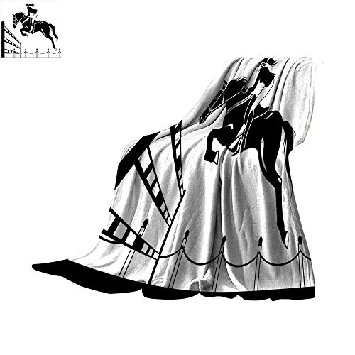 Cover Racing Horse with a Jockey Girl Jumping Above Barrier Barn Farming Image Print Blanket for Sofa Couch Bed Black and White Throw Blanket 60
