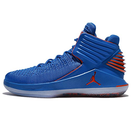 Nike Jordan Men's Air xxxii PF, Signal Blue/Metallic Silver/Team Orange, 10 M US by NIKE