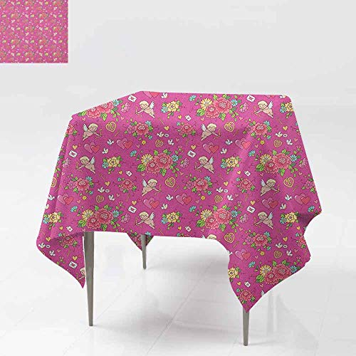 SONGDAYONE Multi-Patterned Square Tablecloth Angel Flora Nosegay Beauty Wedding Bouquet with Shooting Cupid Romantic Print Leakproof Fuchsia Pink Dark Coral W70 xL70