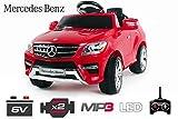 Lizenz Kinderauto Mercedes ML350 Jeep 6V 2x25W Motor RC Elektroauto Kinderfahrzeug Ferngesteuert Elektro (Rot)