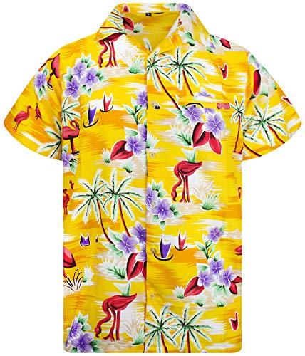 Funky Hawaiian Shirt, Shortsleeve, Flamingos Old, Yellow, XL