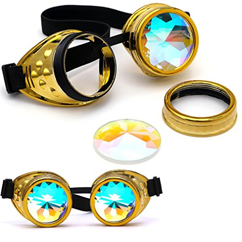 Gaddrt Kaléidoscope verres colorés rave Festival Party EDM lunettes de soleil diffracté Lens (Doré) VfgaTTtoD