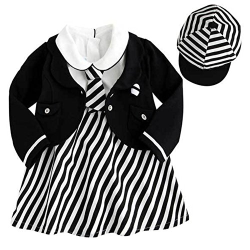 Cute Sailor Girl Costumes (StylesILove Cute Baby Girl 4-PC Set Sailor Costume Striped Outfit (110/3-4 Years))