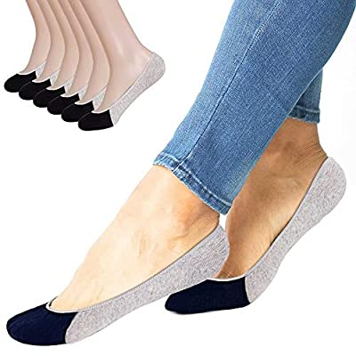 No Show Socks Women Men for Flats Cotton Low Cut Liner Socks Non Slip 6 Pairs (Grey) at Women's Clothing store