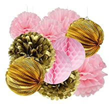 Furuix Pink Gold Tissue Pom Pom Honeycomb Gold Plate Paper lanterns for Girl 1st Birthday Decor Baby Shower Decor