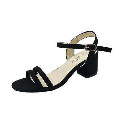 1e86eab064 Block Heel Sandals Jamicy Women Ladies Summer Peep Toe Hasp High Heeled  Casual Party Shoes (