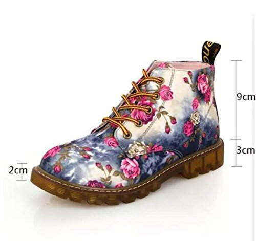 Gray Casual Moda Basso Tubo Nuovo Inghilterra Stivali Stivali Floreali Martin aWqddzZ