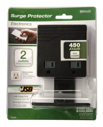 Woods 041050 USB Charger Combo 2-Outlet Surge Protector, Black, 450 Joules of Protection by Woods (Image #1)