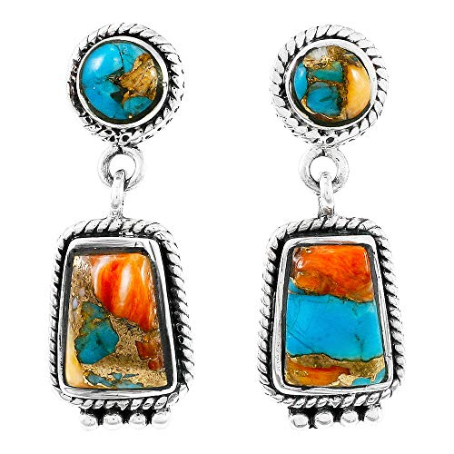 Spiny Oyster Turquoise Earrings in 925 Sterling Silver (Select style) (Western Chic)