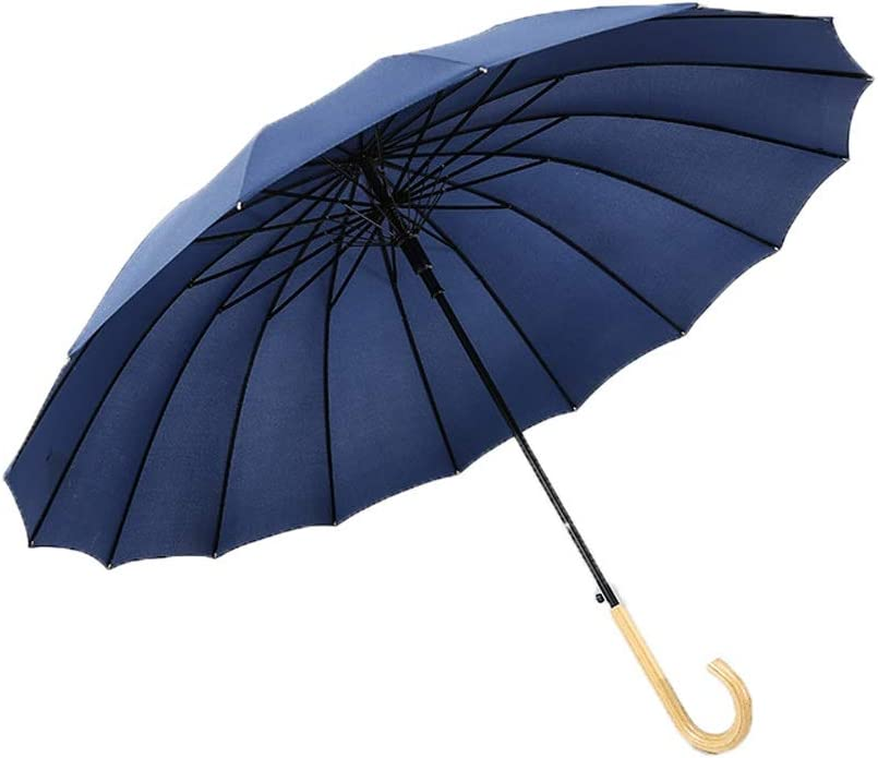 Extra Strong Triple Layer Reinforced Frame with Fiberglass, Umbrella Auto Open Windproof Long Handle Straight Umbrella,16 Ribs for Super-Strength Color : Blue