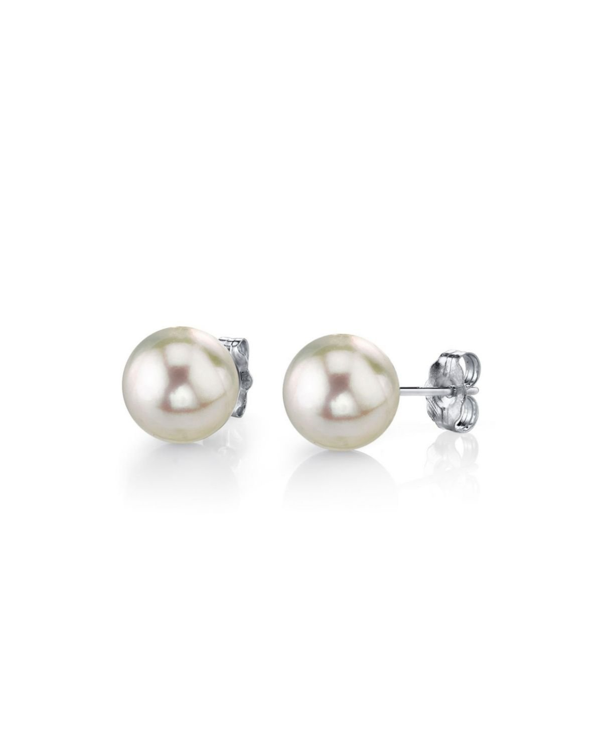 THE PEARL SOURCE 14K Gold 4.5-5mm Baby Sized AAA Quality Round White Cultured Akoya Pearl Stud Earrings for Women by The Pearl Source (Image #1)