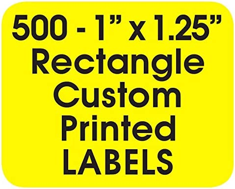 500 One Ink Color - Printed Labels Made in The USA Custom Rectangle 1 x 1.25 Personalized Business Product Brand Sticker Rolls