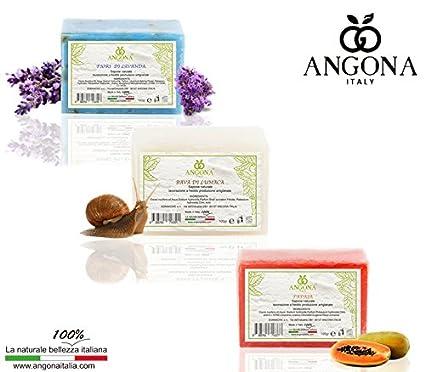 ANGONA Paquete de Jabón 100% Natural 3 tipos x 100g -Con flores de ...