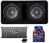 "Kicker 43DCWR122 12"" 2000W Car Subwoofers Subs + Box+4000 Watt Mono Amp + Wiring"