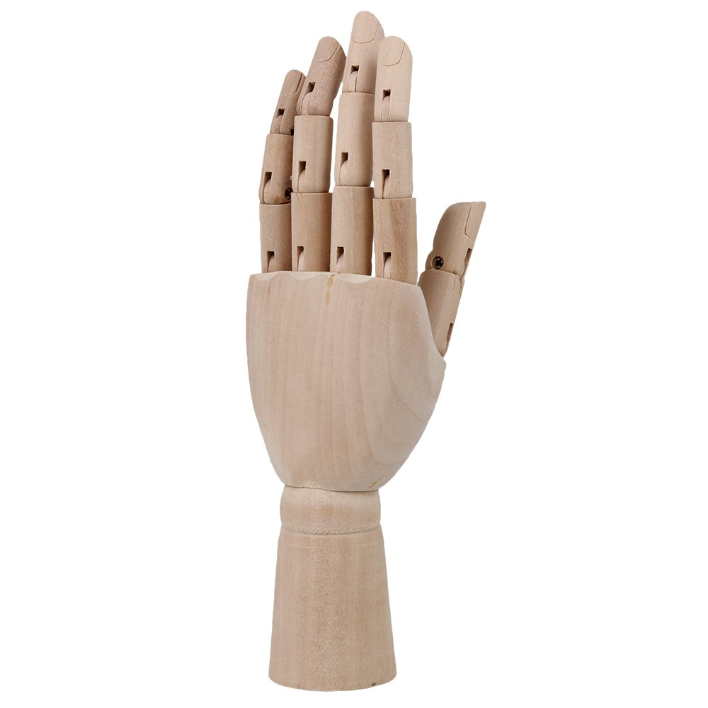 BQLZR 7 Inch Body Artist Model Articulated Mannequin Wooden Right Hand Manikin for Art Drawing N03345