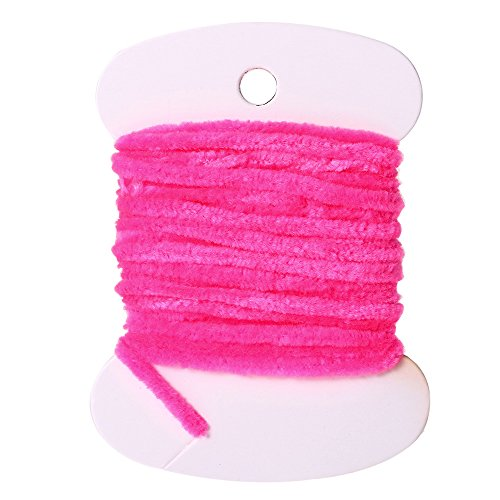 1 Card Nylon Fishing Flies Tying Body Material Fly Tying Tinsel Chenille for Woolly Bugger Worms Rayon Chenille Yarn Fly Fishing Rose RED