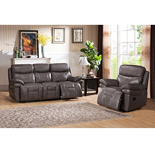 Amax Leather Summerlands Leather Reclining Sofa and Recliner, Smoke Grey