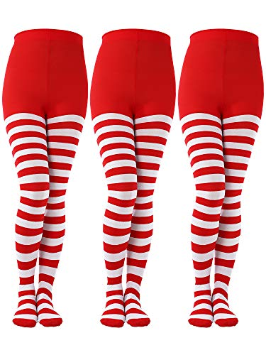 Sumind 3 Pairs Christmas Full Length Striped Tights Thigh High Stocking for Women Christmas Saint Patrick's Day (Red/White, Kids Size) -