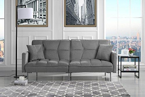 Modern Plush Tufted Velvet Splitback Living Room Futon (Light Grey)